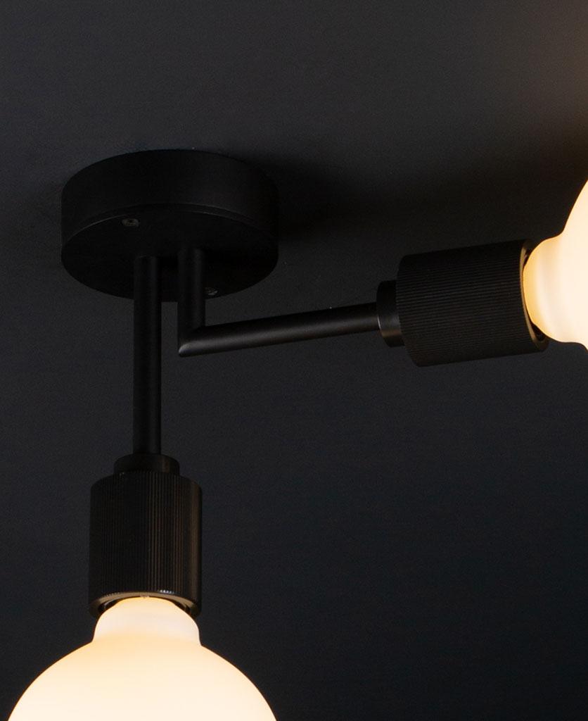 closeup of langham black ceiling light on