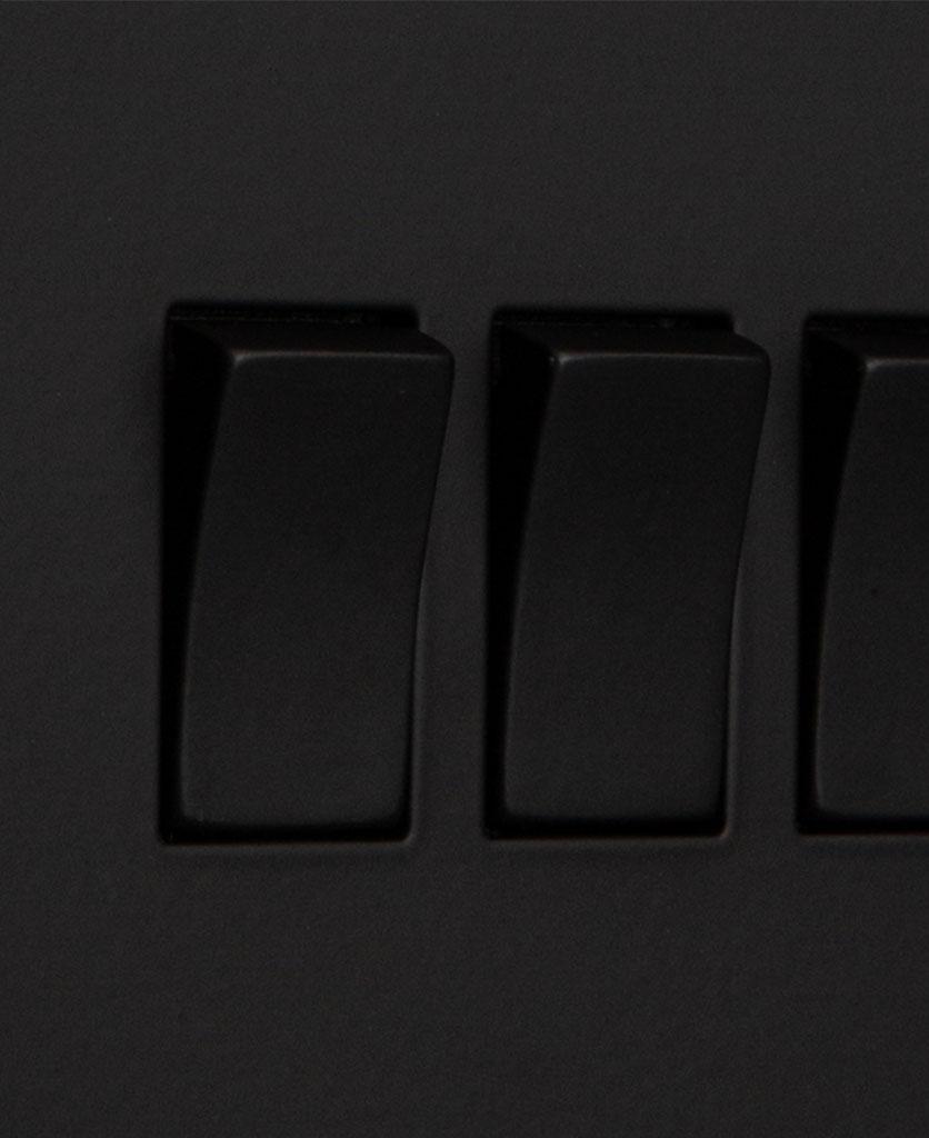 closeup of black quadruple rocker switch