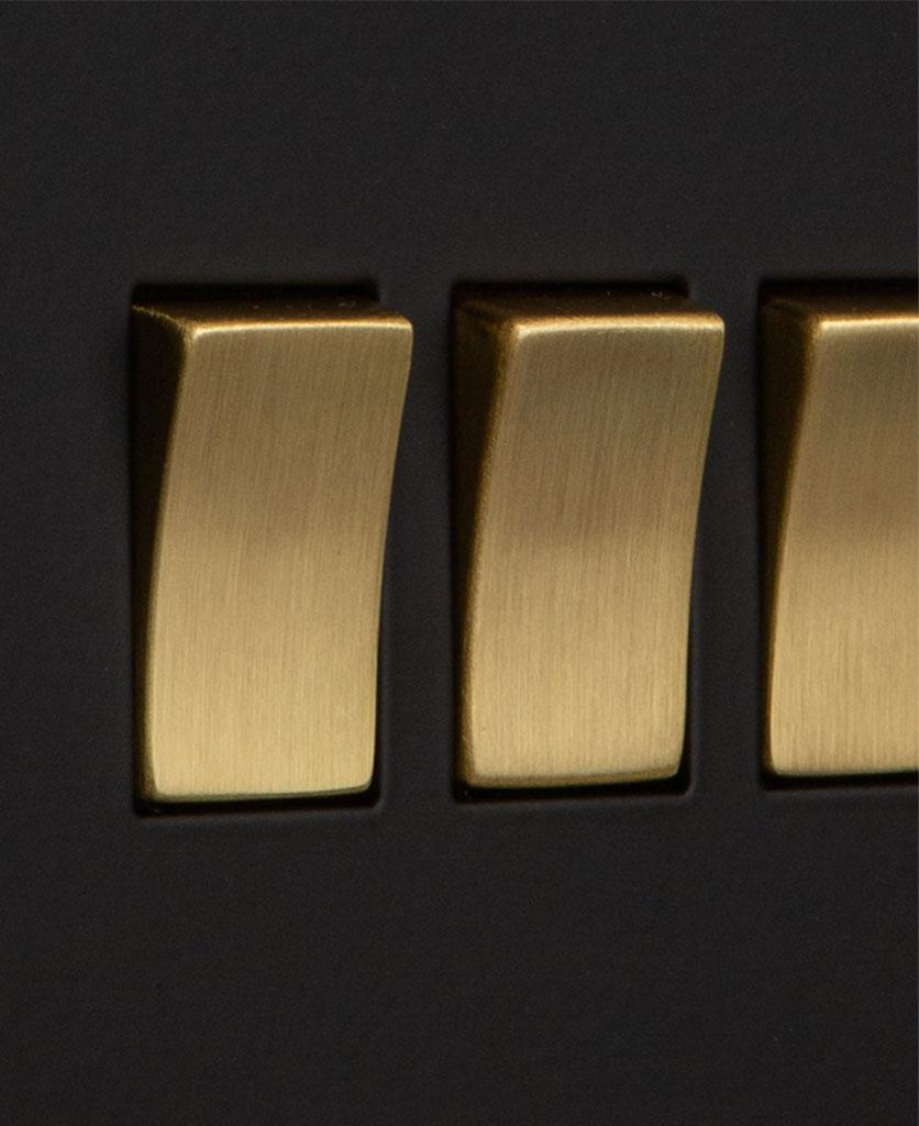 closeup of black and gold quadruple rocker switch