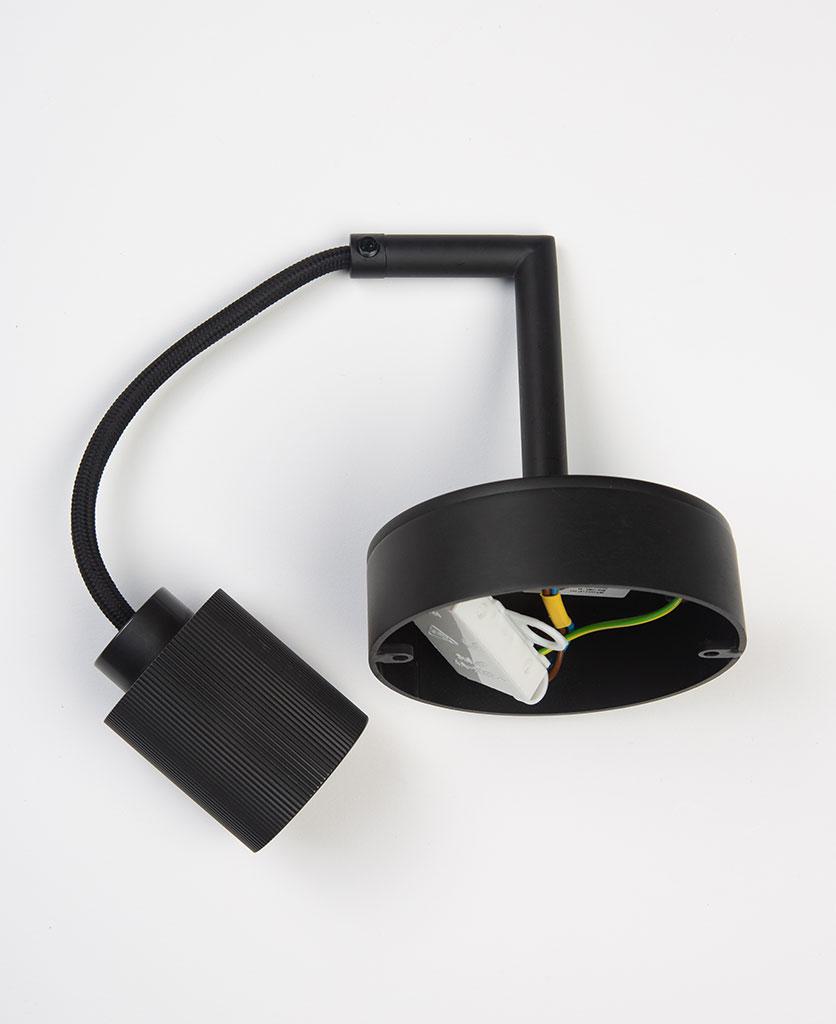 ritz black wall light flat lay on white background