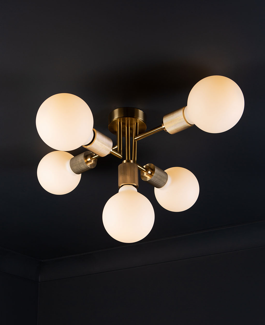 Connaught brass ceiling light