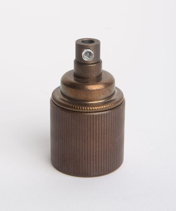 brewer's brass e27 ribbed ES lamp holder against white background