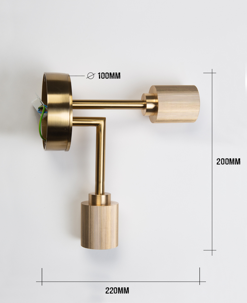 langham brass ceiling light on a white background with dimensions information