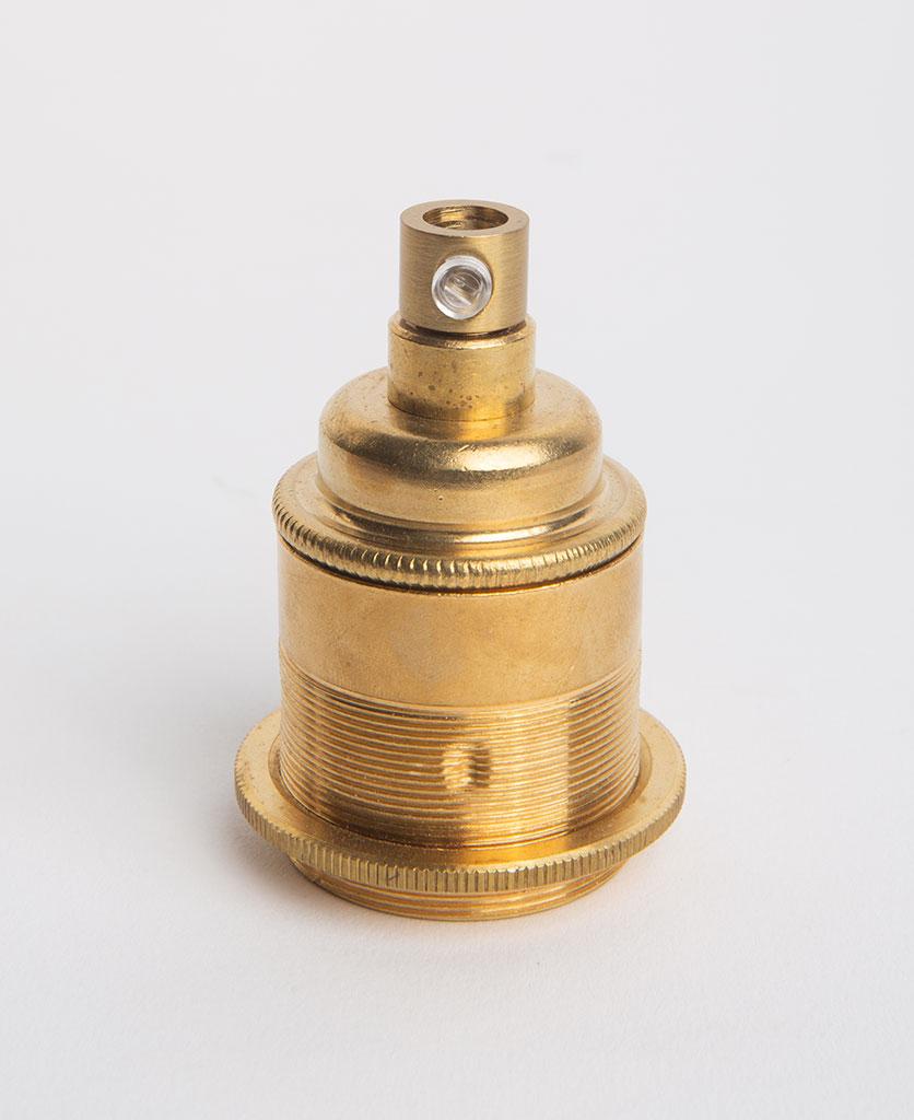 e27 threaded raw brass bulb holder against white background