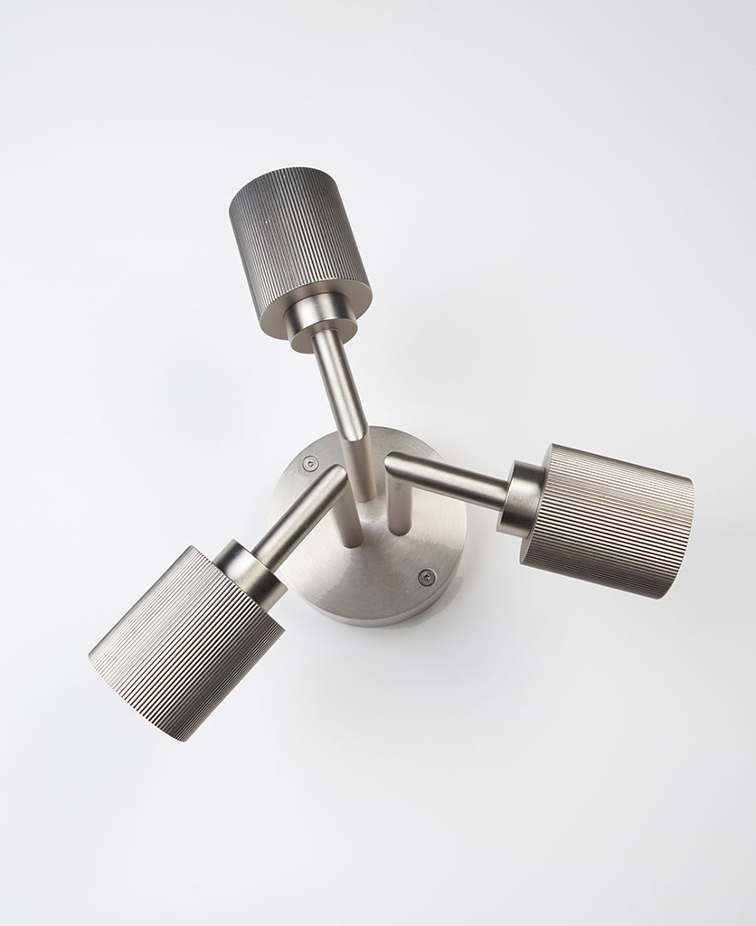 silver hoxton ceiling light on white background