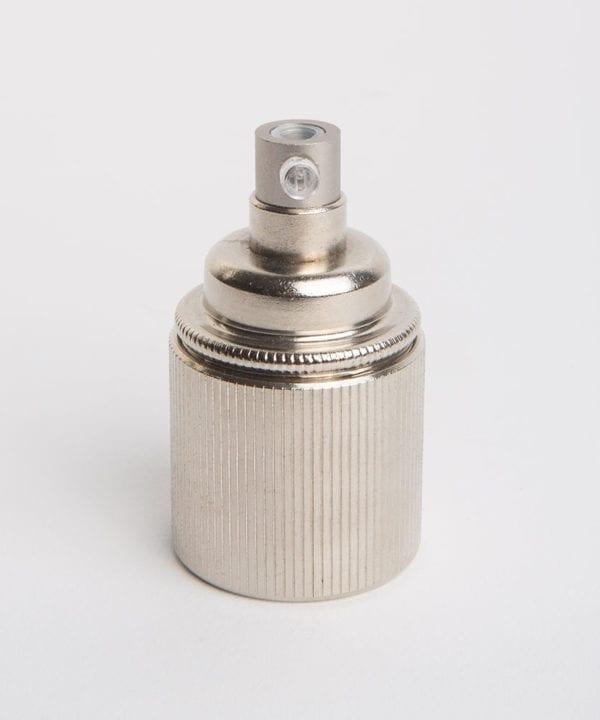 forgotten silver e27 ribbed lamp holder against white background