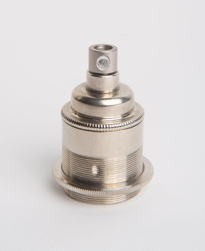 nickel threaded e27 bulb holder against white background