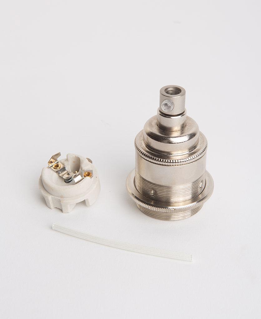 nickel threaded e27 bulb holder with porcelain insert against white background