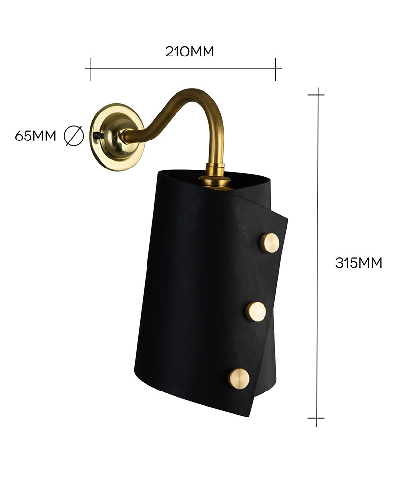 gold and black leather wall light against white background with dimensions