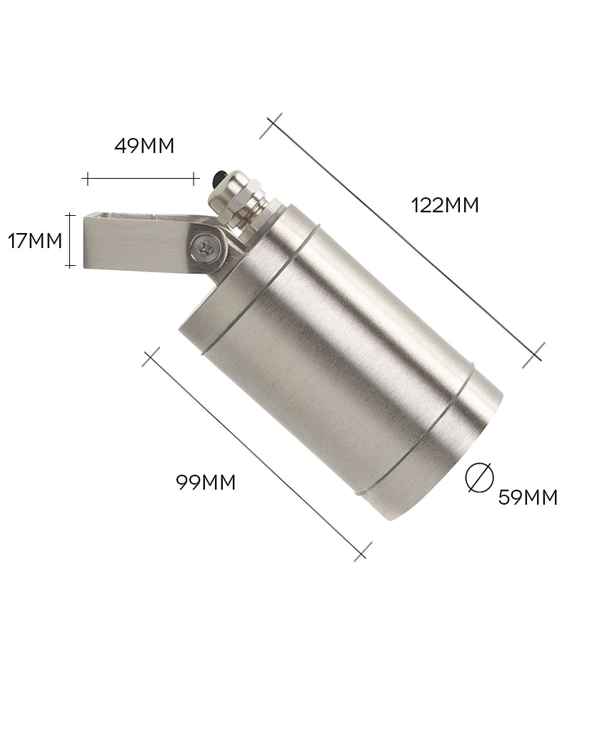 silver leonis led outside light on white background with dimensions