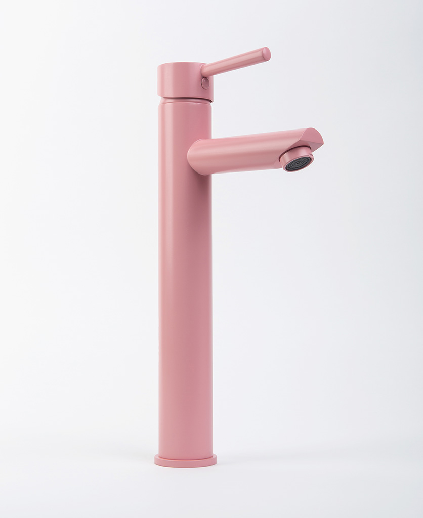 Inga miami pink bathroom tap product shot from the side on white background