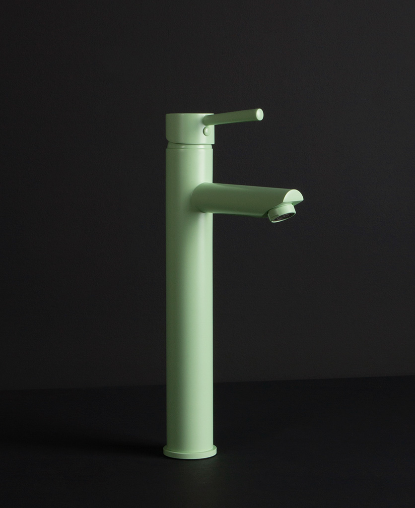 Inga mint green bathroom tap product shot from the side on black background