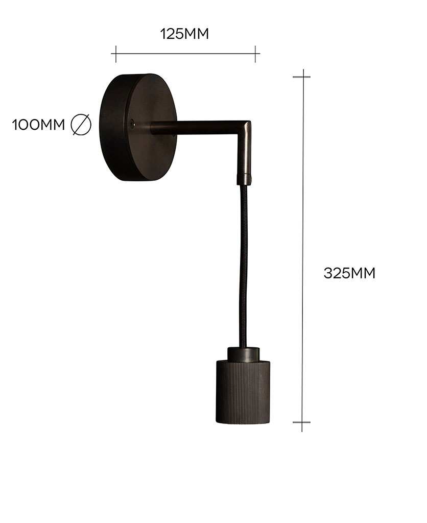 ritz black wall light on white background with dimensions