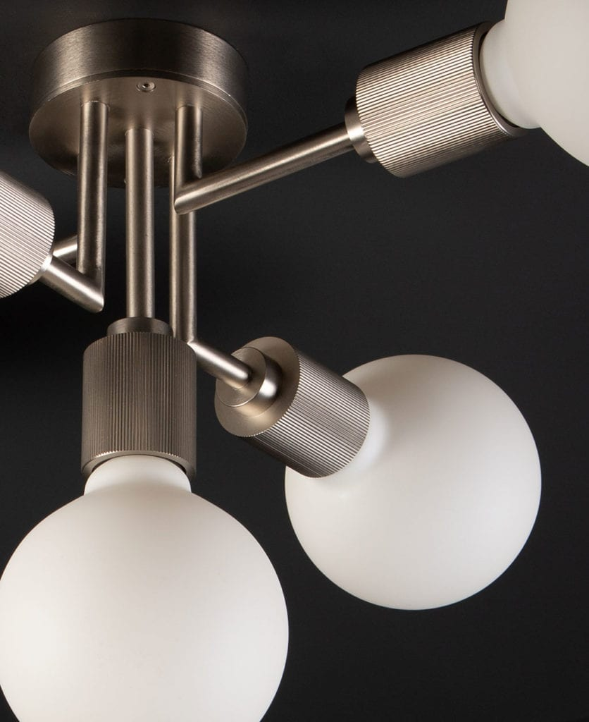 Connaught silver ceiling light against black ceiling