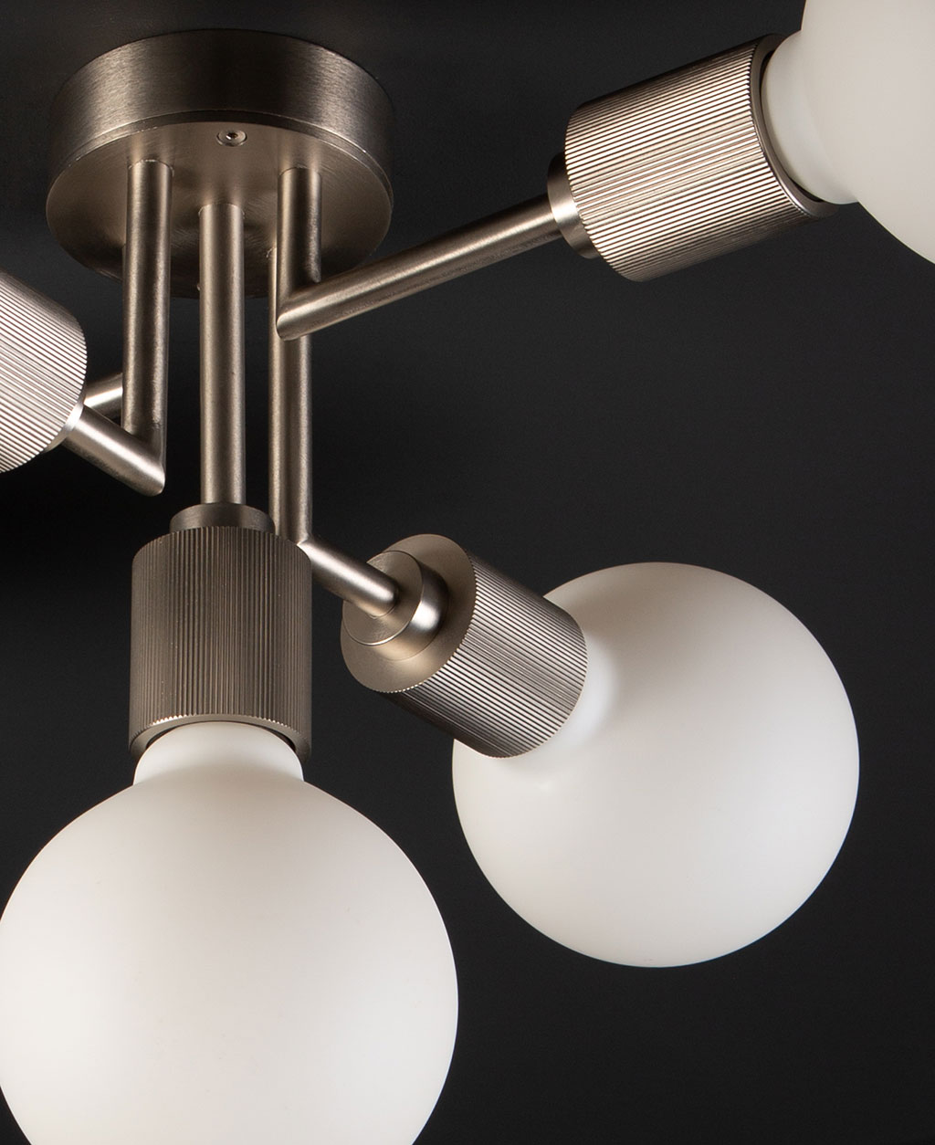 connaught ceiling light silver closeup of bulb holder and bulb