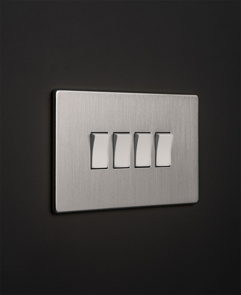 Silver quad rocker switch with white switches