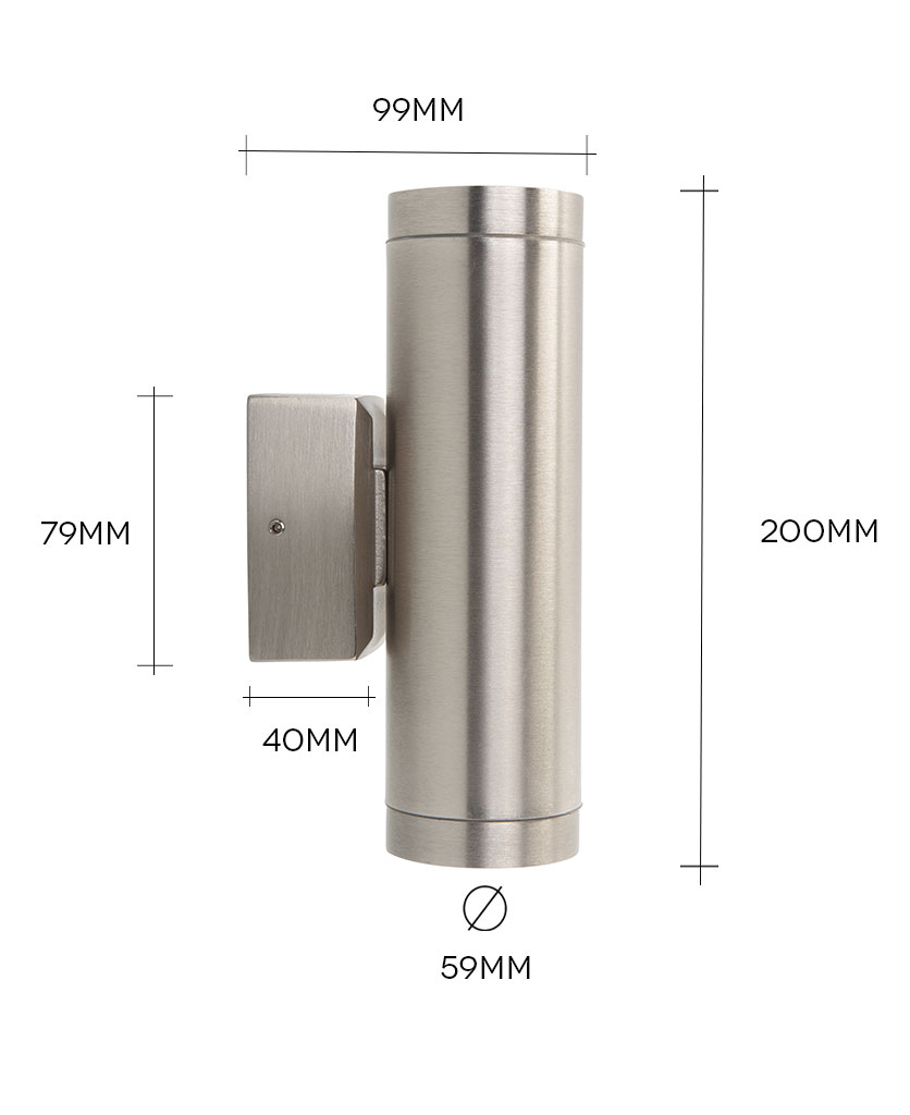vega silver up-down wall light against white background with dimensions