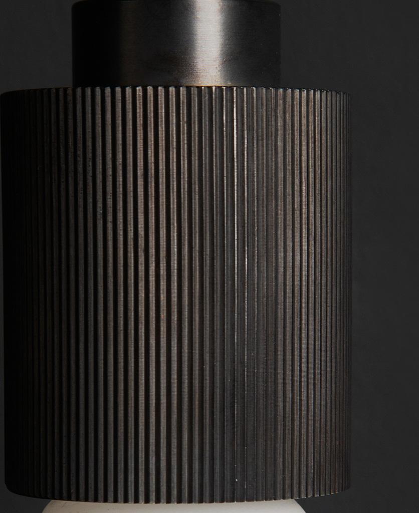 antique black ribbed bulb holder closeup