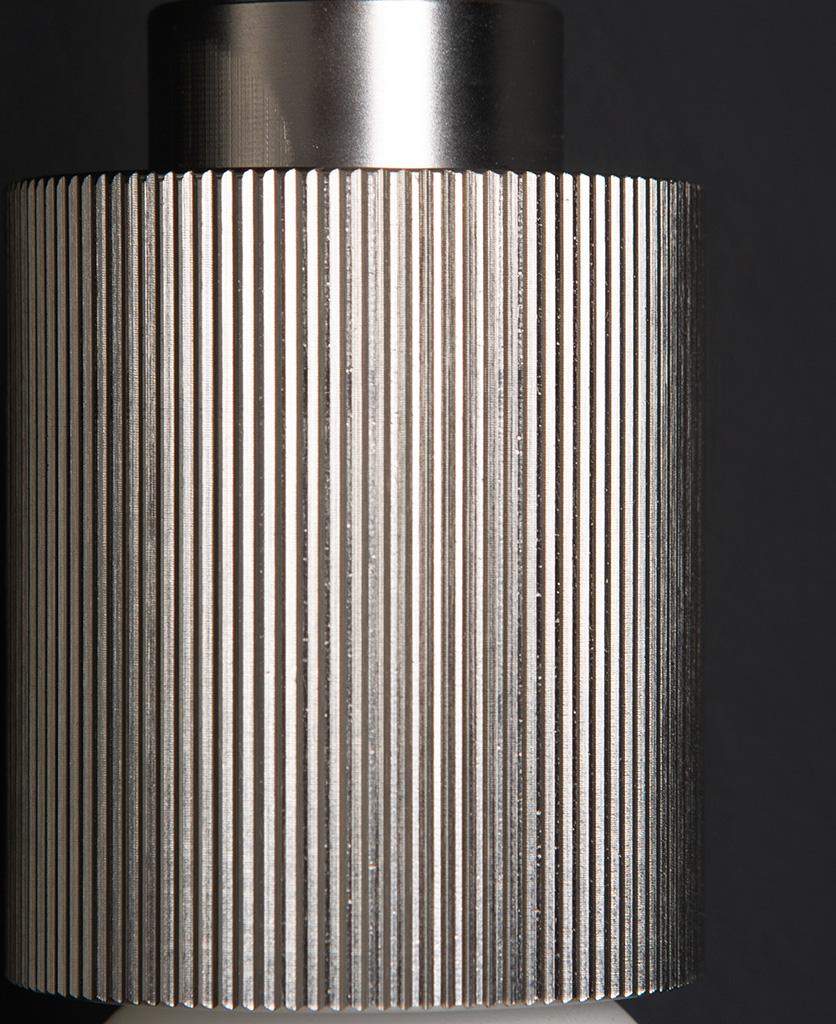 silver ribbed bulb holder closeup