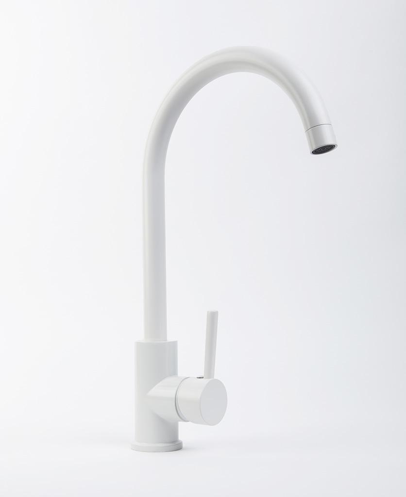 Tinkisso curved white kitchen sink tap on white background