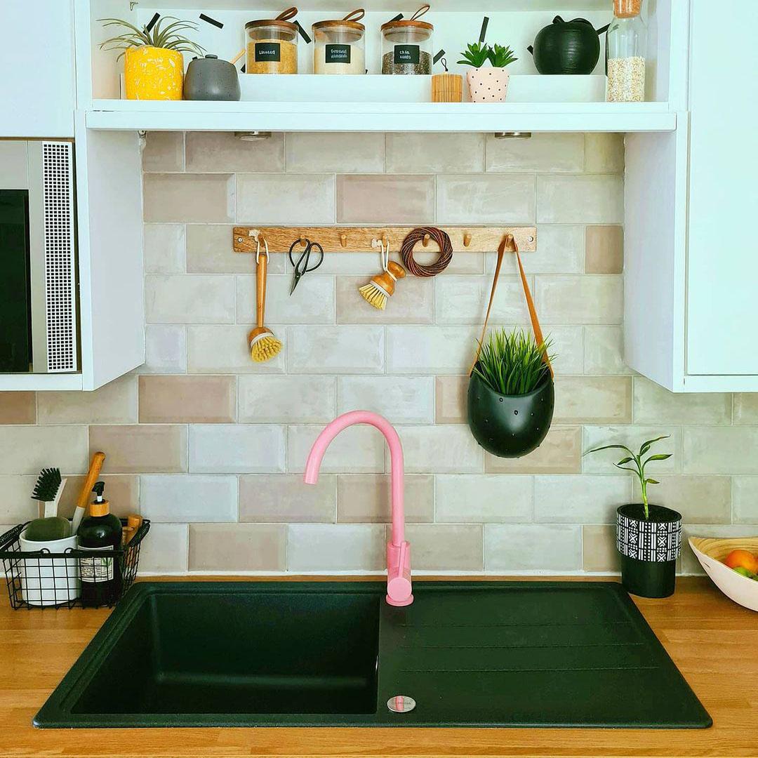miami pink tinkisso colour pop kitchen tap on black sink