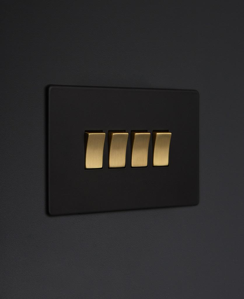 black and gold 4g quad rocker switch