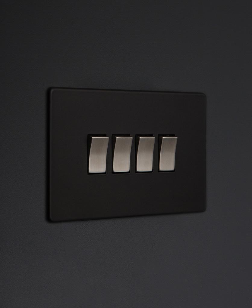 black and silver 4g quad rocker switch