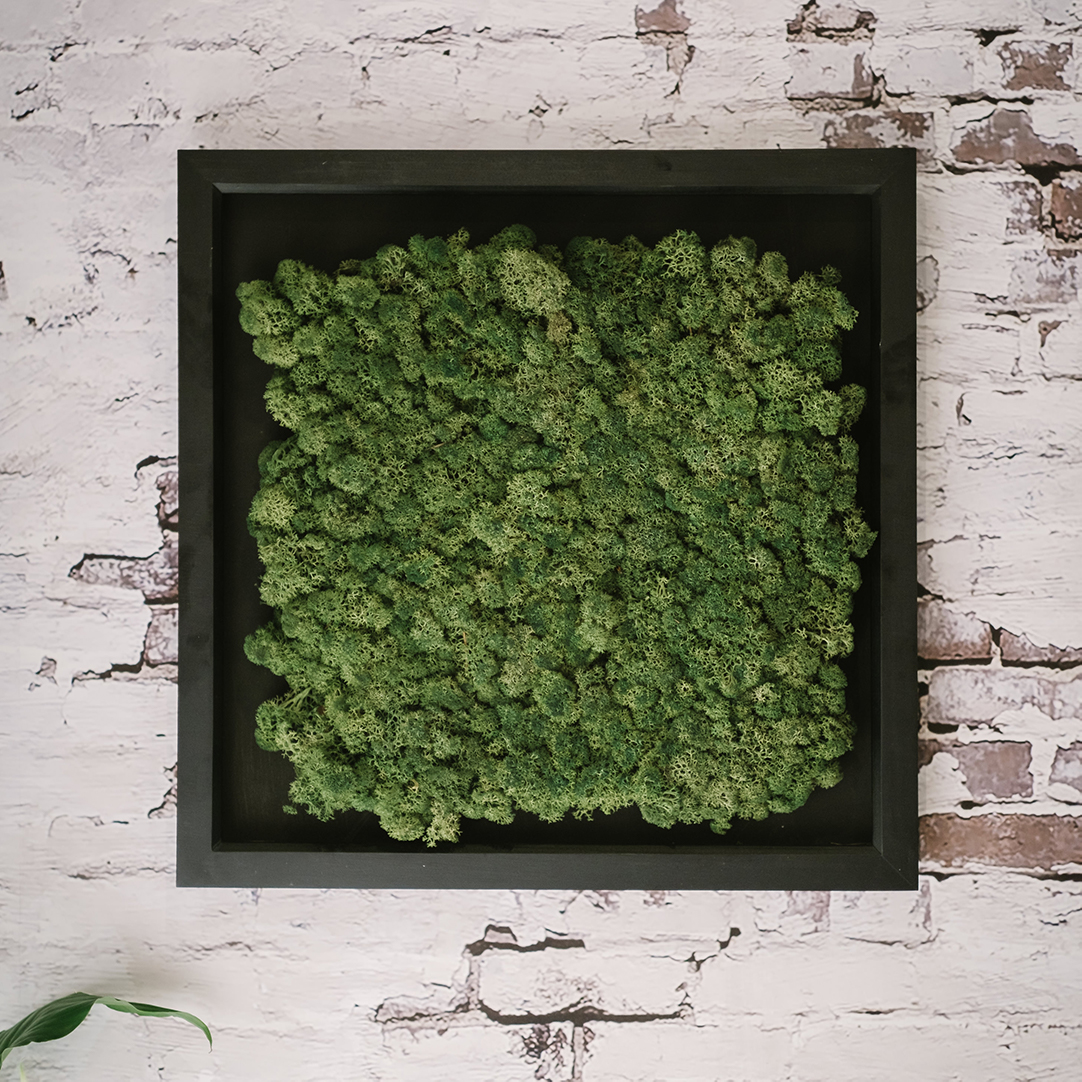 framed moss panel fitted to an exposed brick wall