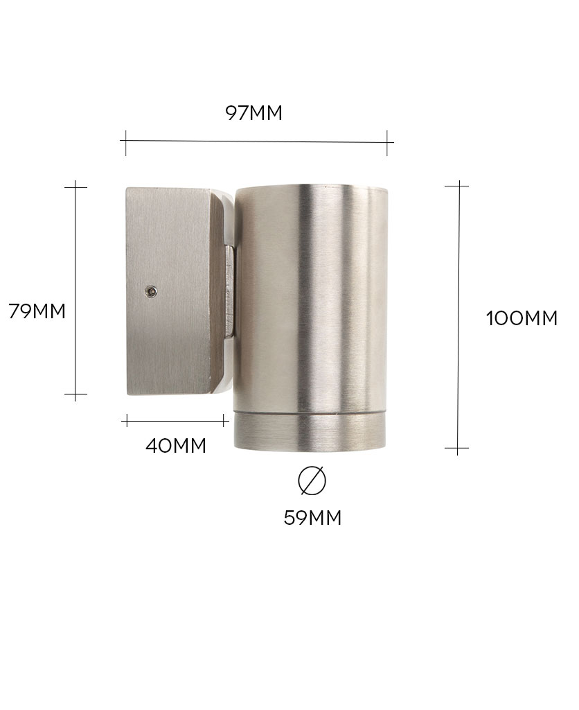capella tin silver wall light on white background with dimensions