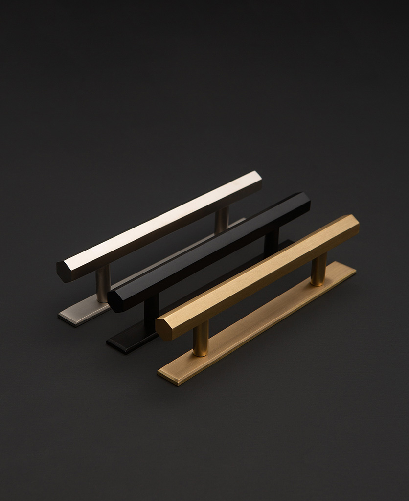 modern kitchen door handles in gold silver and black