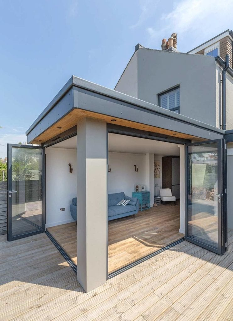 image of large house extension with open bifolding doors