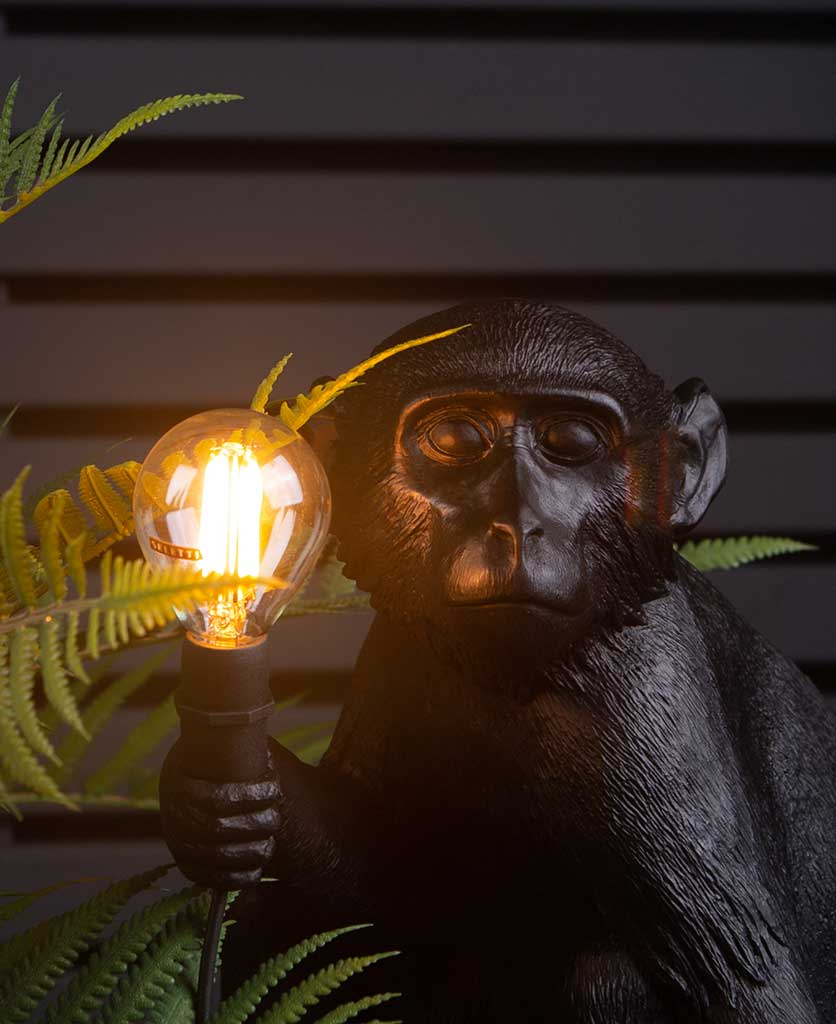 closeup shot of Monty sitting monkey black resin table lamp holding light bulb on black background with faux fern plant
