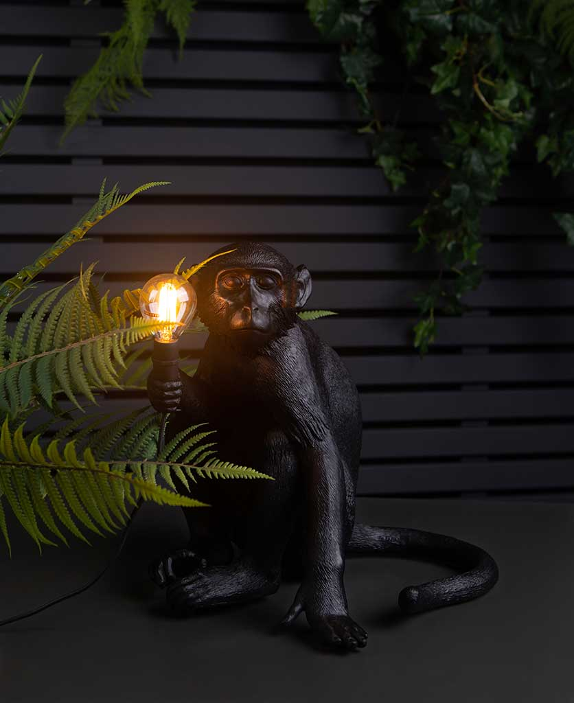 abu monkey light holding a lit bulb sat on top of a black table against black fencing