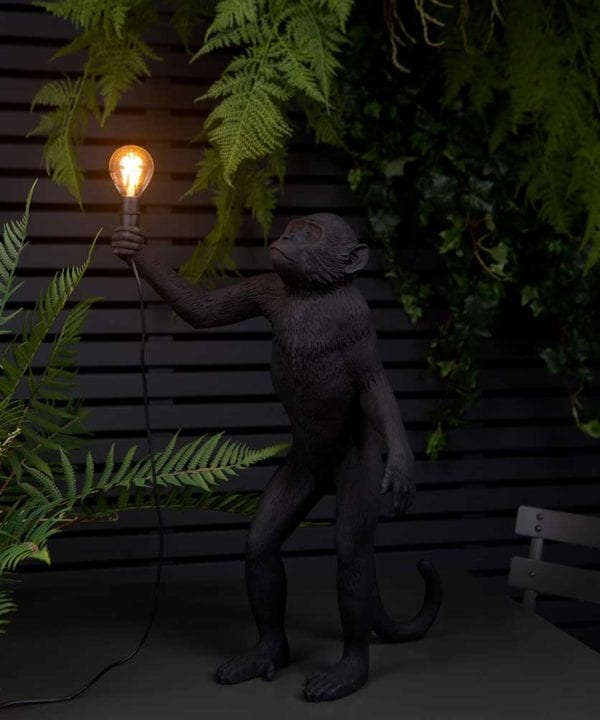 Buddy standing monkey black resin monkey table lamp holding light bulb against balck fencing