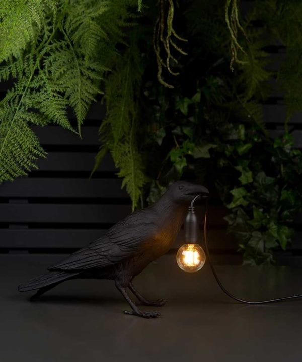 Daphne waiting raven black resin bird lamp holding bulb on black background with artificial plants