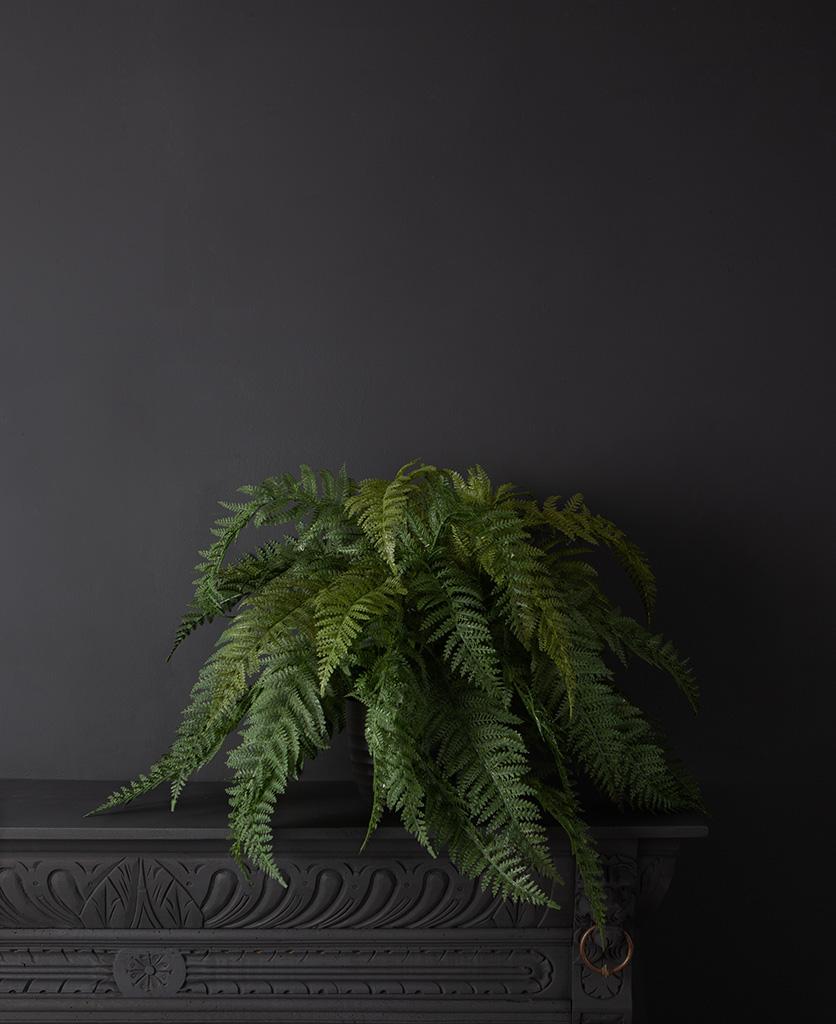 Faux fern houseplant in a black vase against a black wall