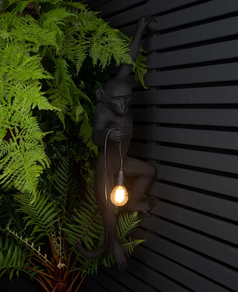 animal light louie outdoor monkey light suspended against black fencing