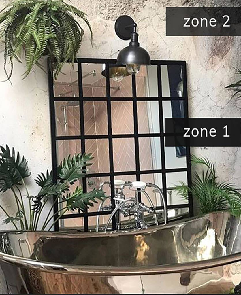 lighting zone 1 and 2 in a concrete bathroom with metal bath