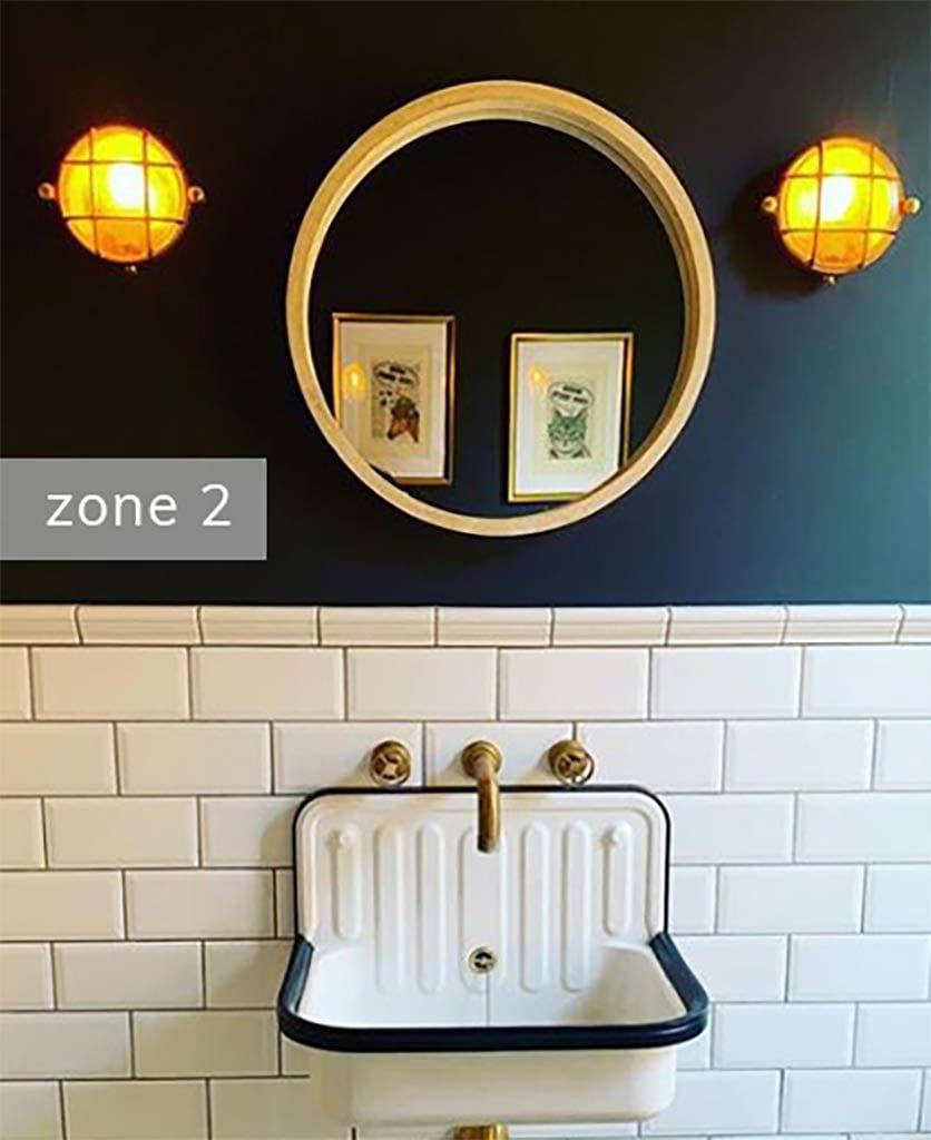 zone 2 in a dark blue and white bathroom