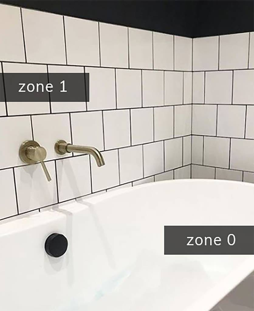 zone 0 and zone 1 in a white tiled bathroom