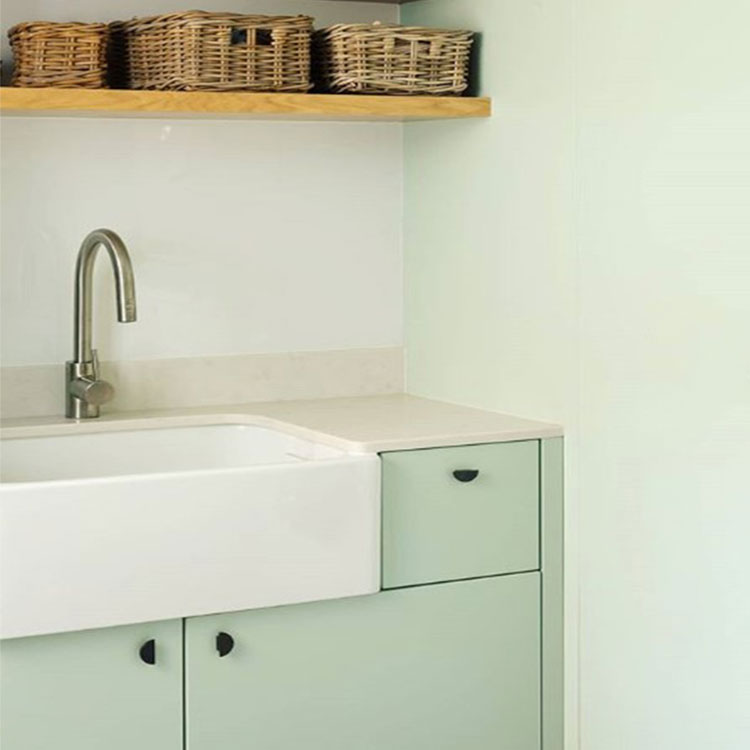 neo mint kitchen with black nouveau handles in white and mint room