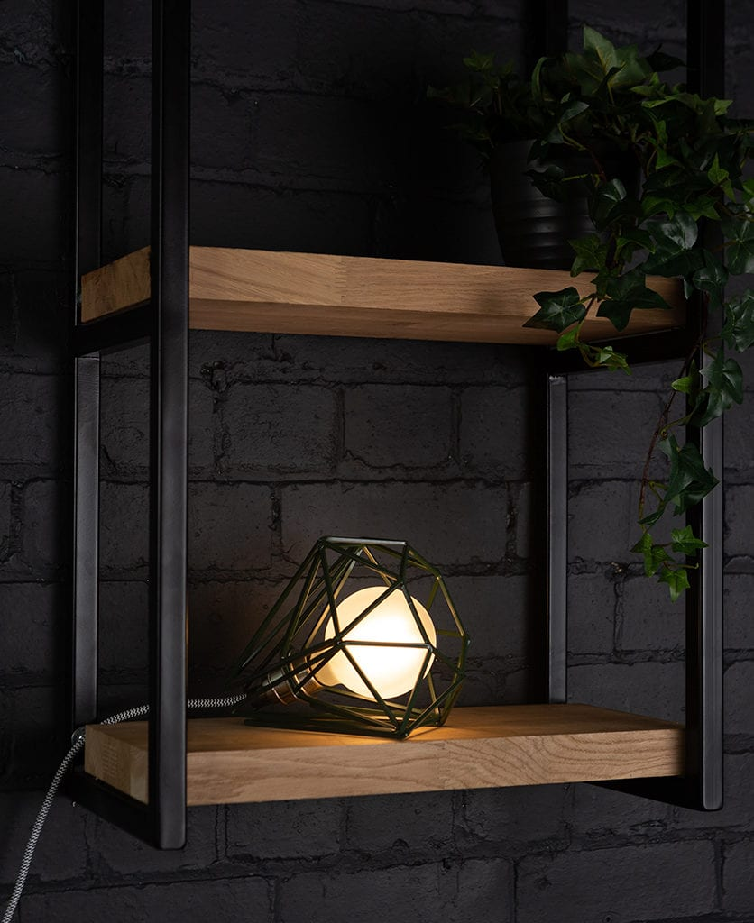 knox industrial shelf brackets with oolong cage table lamp