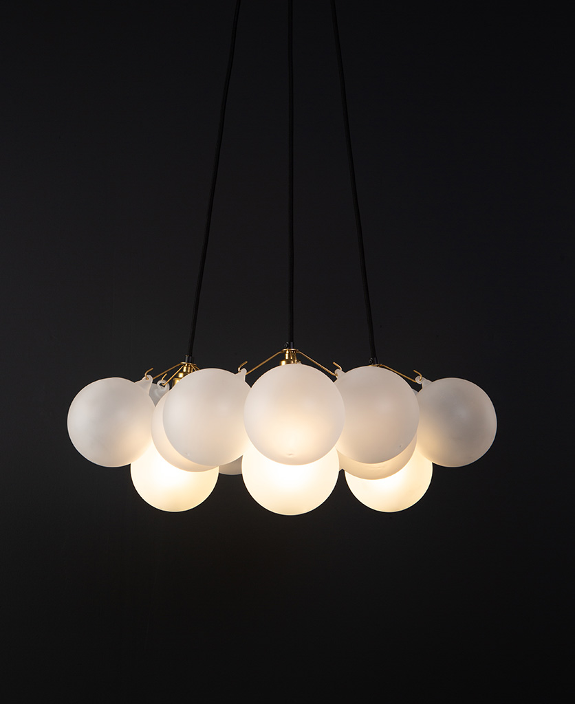 3 point brass frosted bauble chandelier