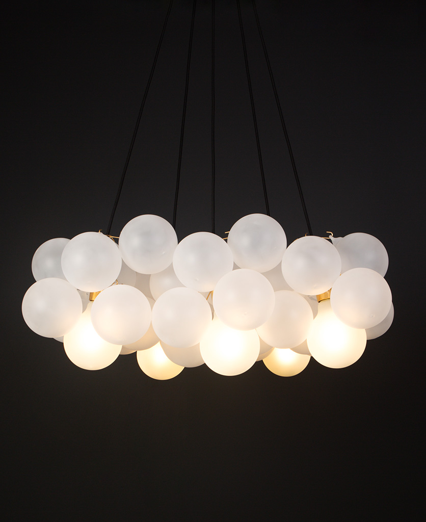bubble light chandelier with 40 frosted glass orbs and gold bulbholders
