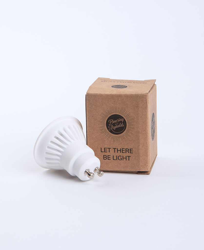 GU10 downlight bulb against white background