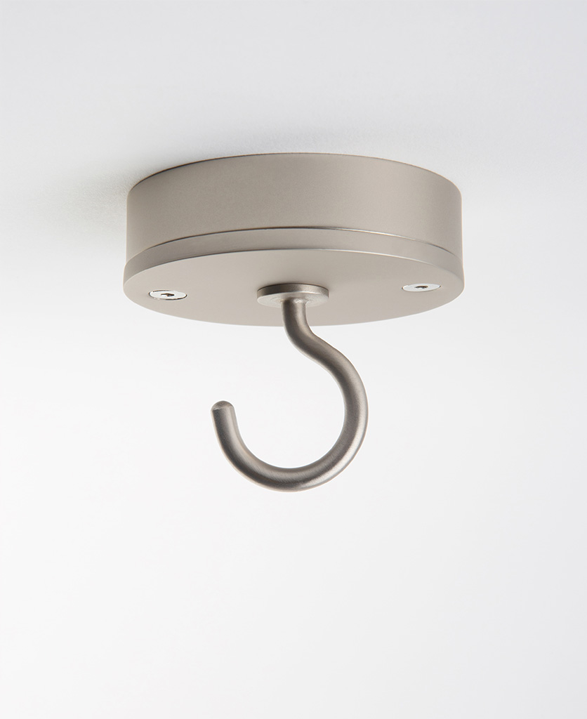 silver ceiling hook against white background