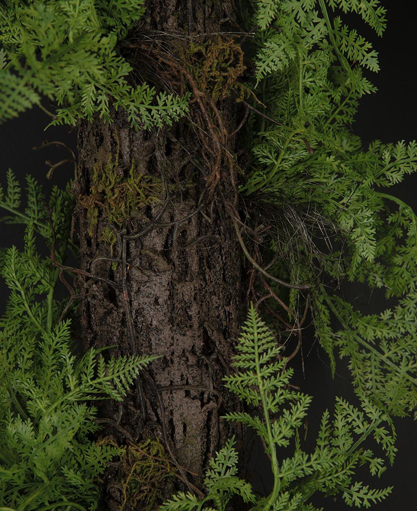 faux log with fern