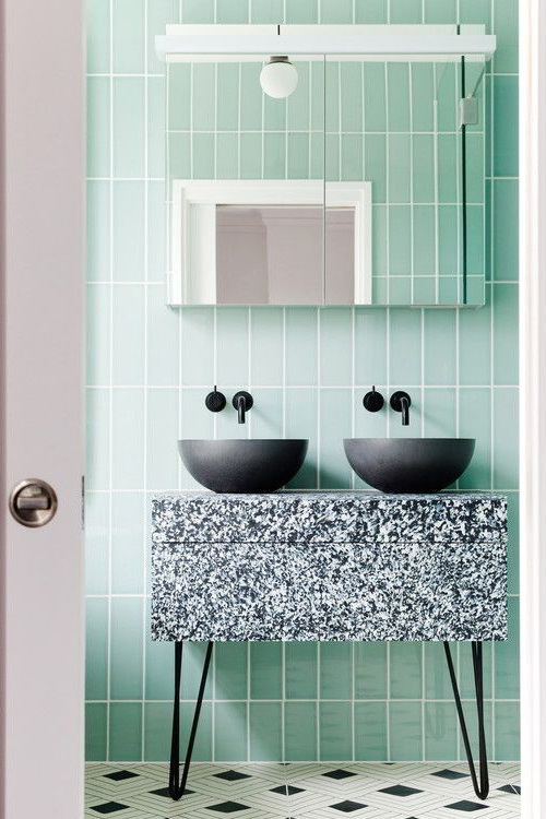 colourful taps, black tap in neo mint bathroom