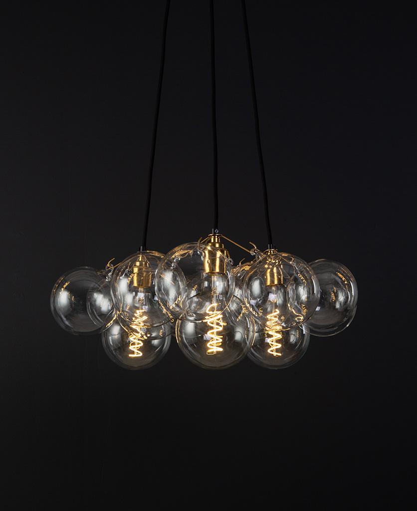 Bubble chandelier raw brass