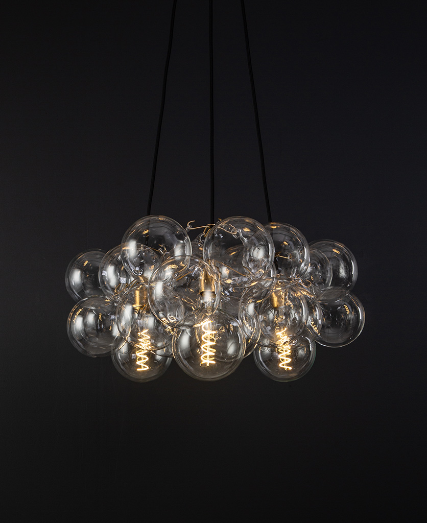 medium frosted bubble chandelier gold